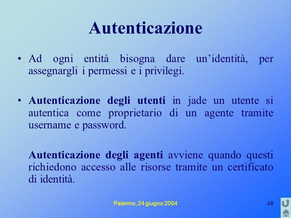 Palermo, 24 giugno 200448 Autenticazione Ad ogni entità bisogna dare un'identità, per assegnargli i permessi e i privilegi. Autenticazione degli utent