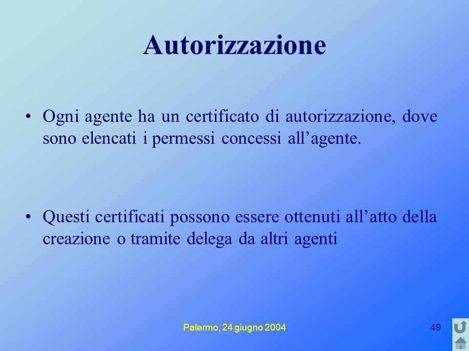 Palermo, 24 giugno 200449 Autorizzazione Ogni agente ha un certificato di autorizzazione, dove sono elencati i permessi concessi all'agente.