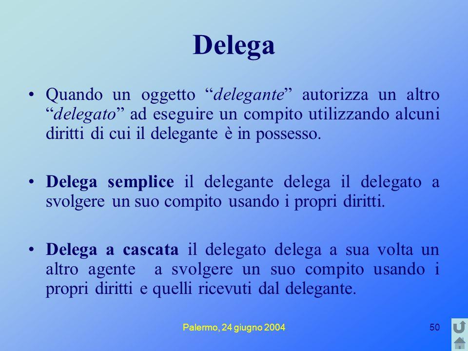 Palermo, 24 giugno 200450 Delega Quando un oggetto delegante autorizza un altro delegato ad eseguire un compito utilizzando alcuni diritti di cui il delegante è in possesso.
