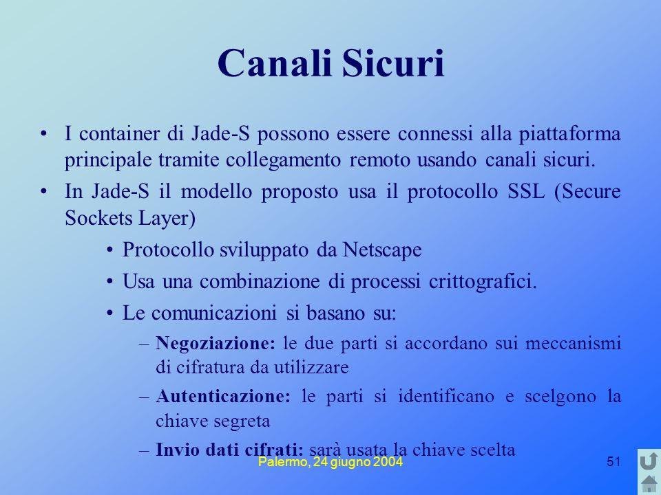Palermo, 24 giugno 200451 Canali Sicuri I container di Jade-S possono essere connessi alla piattaforma principale tramite collegamento remoto usando canali sicuri.
