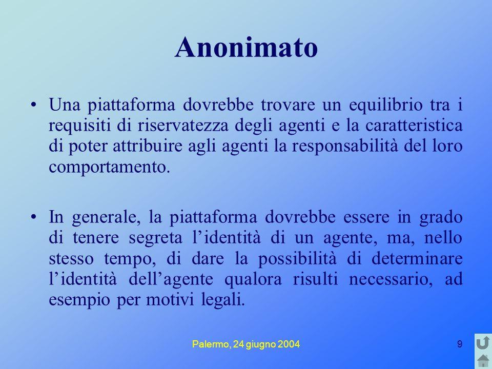 Palermo, 24 giugno 20049 Anonimato Una piattaforma dovrebbe trovare un equilibrio tra i requisiti di riservatezza degli agenti e la caratteristica di