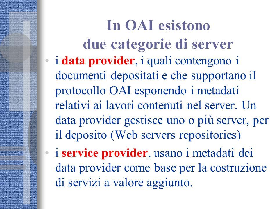 In OAI esistono due categorie di server i data provider, i quali contengono i documenti depositati e che supportano il protocollo OAI esponendo i metadati relativi ai lavori contenuti nel server.