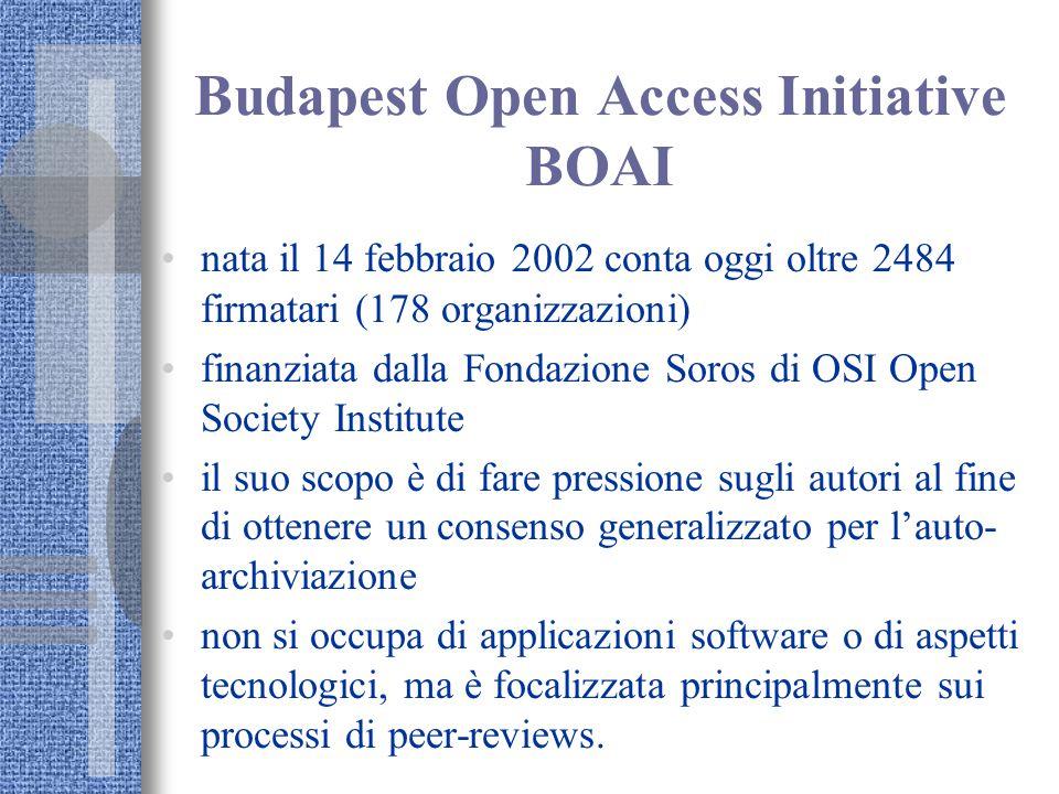 Budapest Open Access Initiative BOAI nata il 14 febbraio 2002 conta oggi oltre 2484 firmatari (178 organizzazioni) finanziata dalla Fondazione Soros di OSI Open Society Institute il suo scopo è di fare pressione sugli autori al fine di ottenere un consenso generalizzato per l'auto- archiviazione non si occupa di applicazioni software o di aspetti tecnologici, ma è focalizzata principalmente sui processi di peer-reviews.
