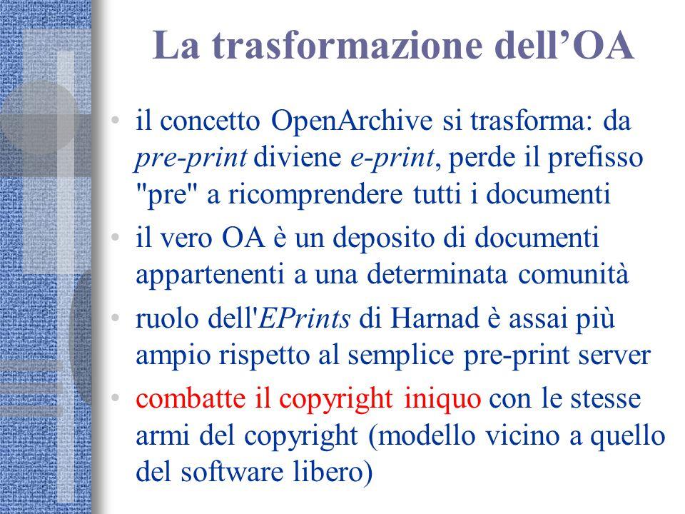 La trasformazione dell'OA il concetto OpenArchive si trasforma: da pre-print diviene e-print, perde il prefisso
