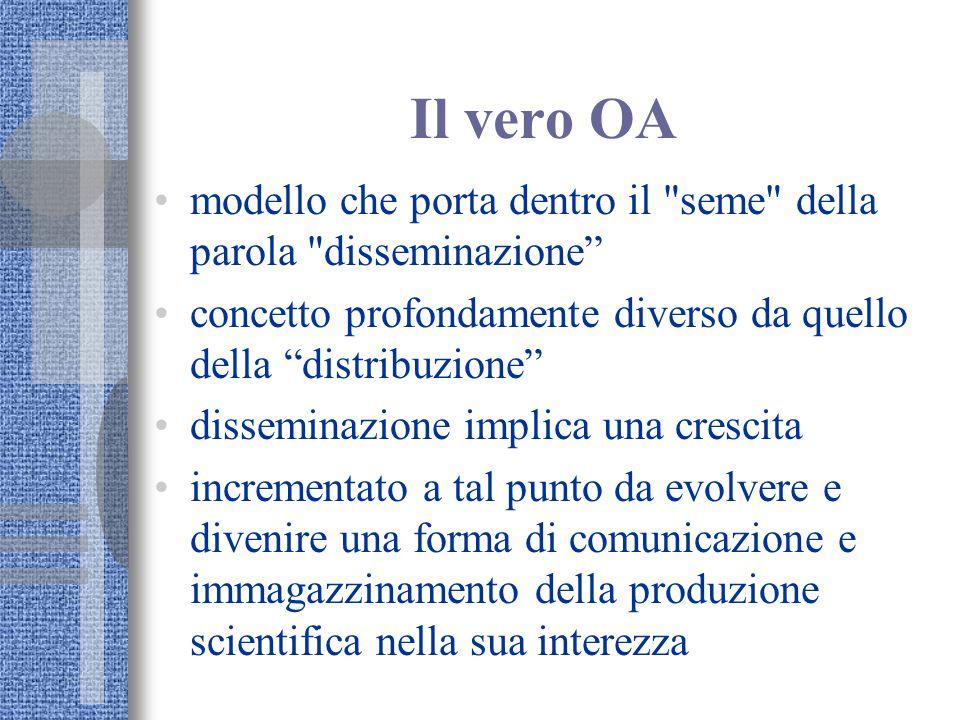 Il vero OA modello che porta dentro il seme della parola disseminazione concetto profondamente diverso da quello della distribuzione disseminazione implica una crescita incrementato a tal punto da evolvere e divenire una forma di comunicazione e immagazzinamento della produzione scientifica nella sua interezza