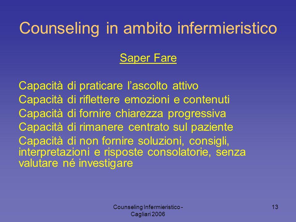 Counseling Infermieristico - Cagliari 2006 13 Counseling in ambito infermieristico Saper Fare Capacità di praticare l'ascolto attivo Capacità di rifle