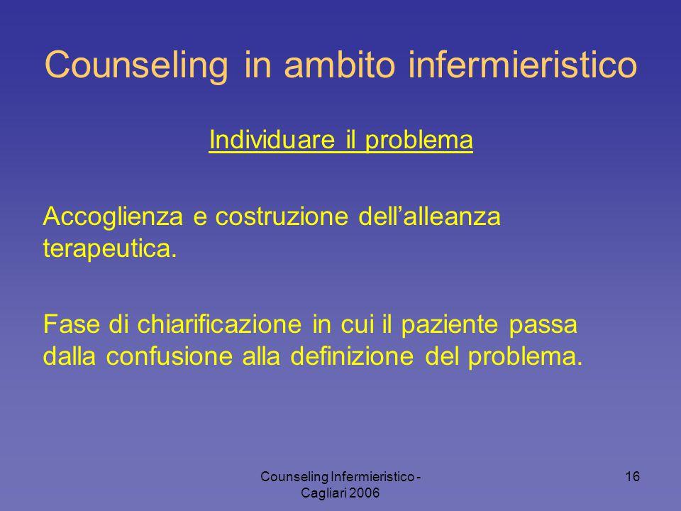 Counseling Infermieristico - Cagliari 2006 16 Counseling in ambito infermieristico Individuare il problema Accoglienza e costruzione dell'alleanza ter