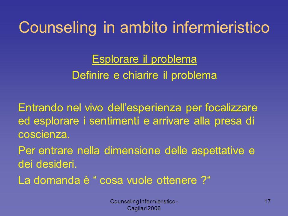 Counseling Infermieristico - Cagliari 2006 17 Counseling in ambito infermieristico Esplorare il problema Definire e chiarire il problema Entrando nel