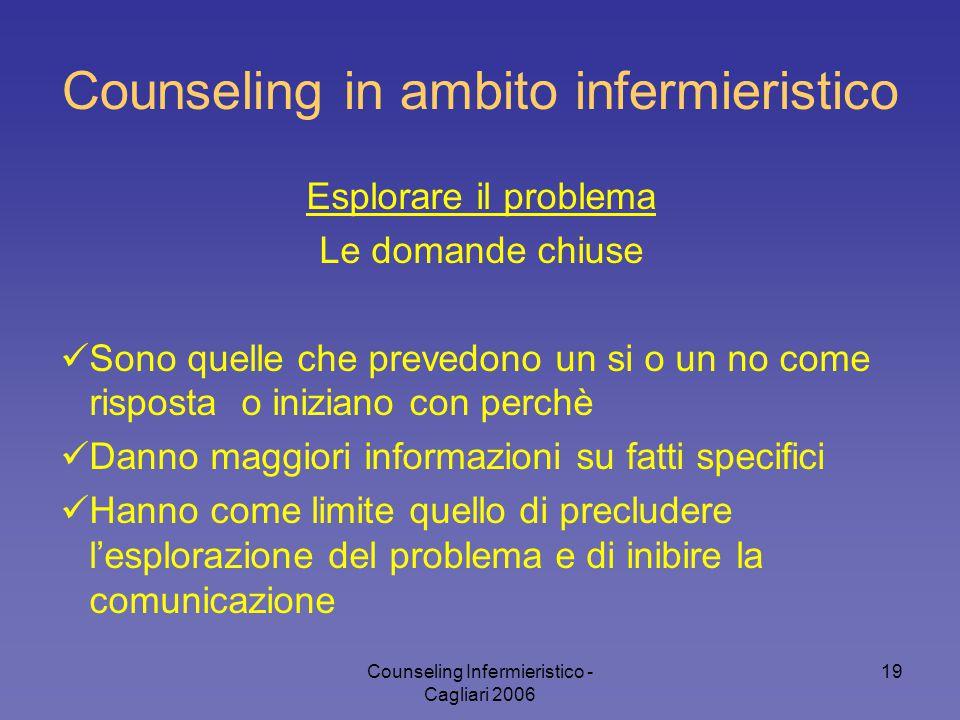 Counseling Infermieristico - Cagliari 2006 19 Counseling in ambito infermieristico Esplorare il problema Le domande chiuse Sono quelle che prevedono u