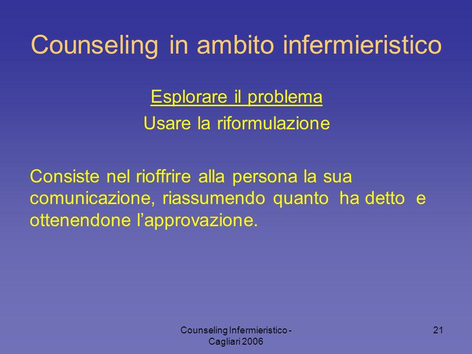 Counseling Infermieristico - Cagliari 2006 21 Counseling in ambito infermieristico Esplorare il problema Usare la riformulazione Consiste nel rioffrir