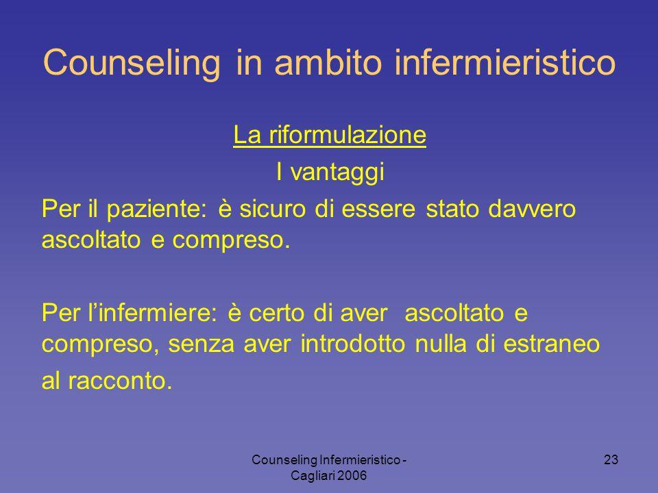 Counseling Infermieristico - Cagliari 2006 23 Counseling in ambito infermieristico La riformulazione I vantaggi Per il paziente: è sicuro di essere st