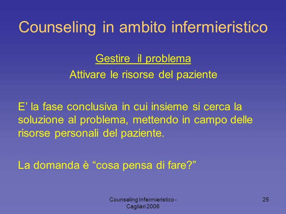 Counseling Infermieristico - Cagliari 2006 25 Counseling in ambito infermieristico Gestire il problema Attivare le risorse del paziente E' la fase con