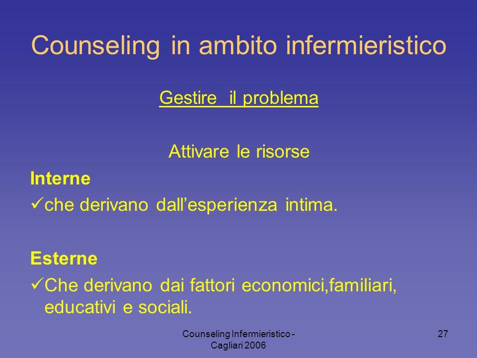 Counseling Infermieristico - Cagliari 2006 27 Counseling in ambito infermieristico Gestire il problema Attivare le risorse Interne che derivano dall'e