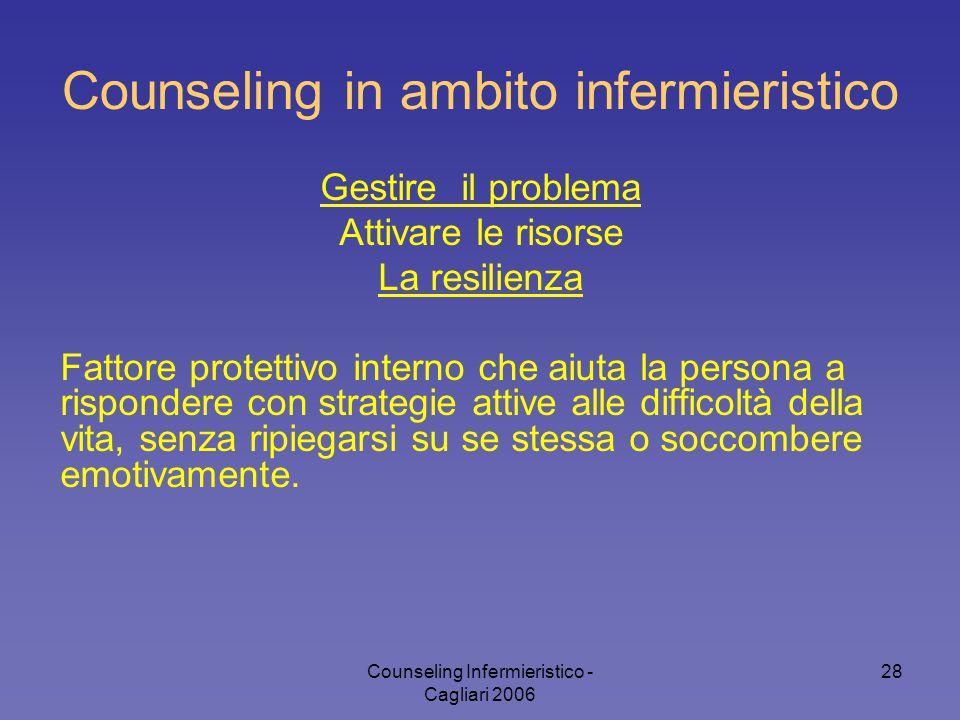 Counseling Infermieristico - Cagliari 2006 28 Counseling in ambito infermieristico Gestire il problema Attivare le risorse La resilienza Fattore prote