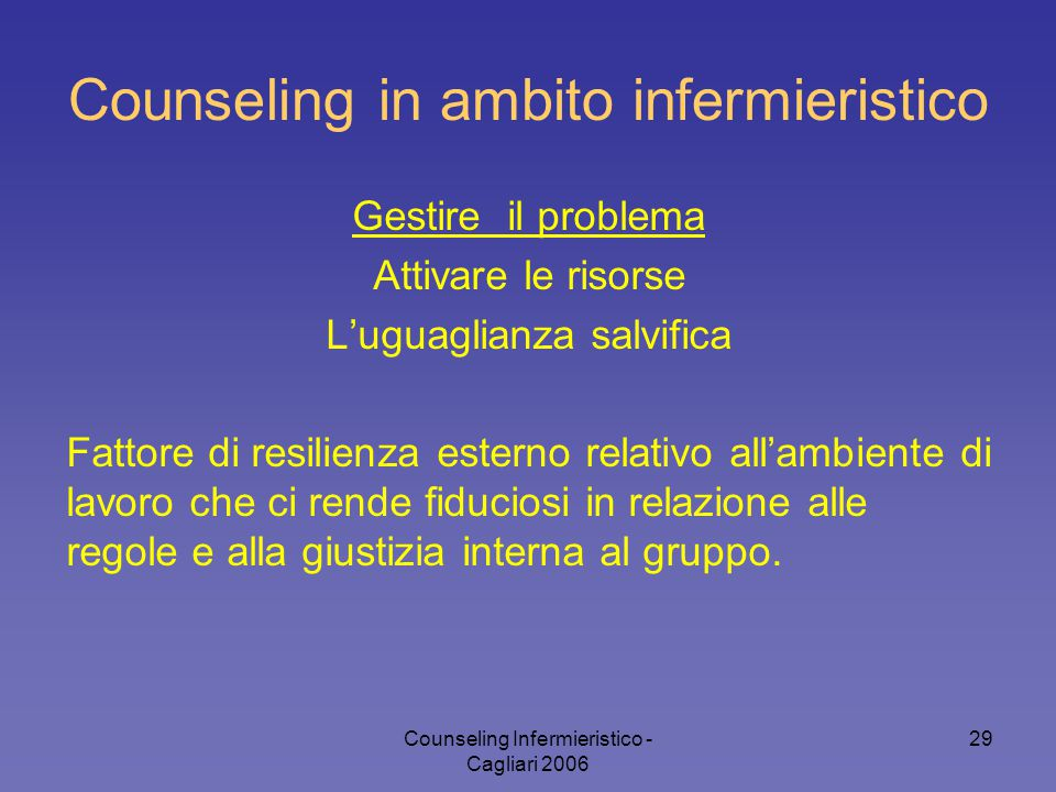 Counseling Infermieristico - Cagliari 2006 29 Counseling in ambito infermieristico Gestire il problema Attivare le risorse L'uguaglianza salvifica Fat