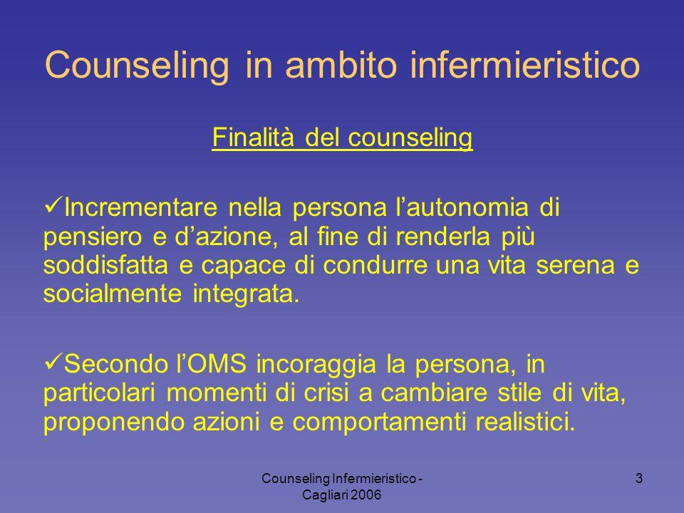 Counseling Infermieristico - Cagliari 2006 3 Counseling in ambito infermieristico Finalità del counseling Incrementare nella persona l'autonomia di pe