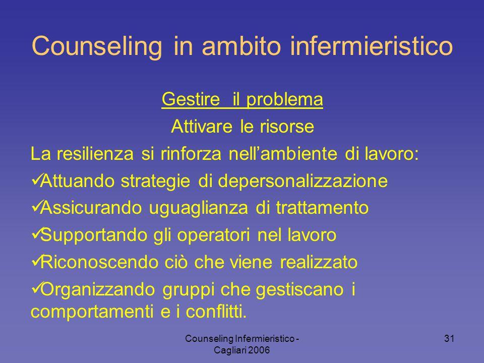 Counseling Infermieristico - Cagliari 2006 31 Counseling in ambito infermieristico Gestire il problema Attivare le risorse La resilienza si rinforza n