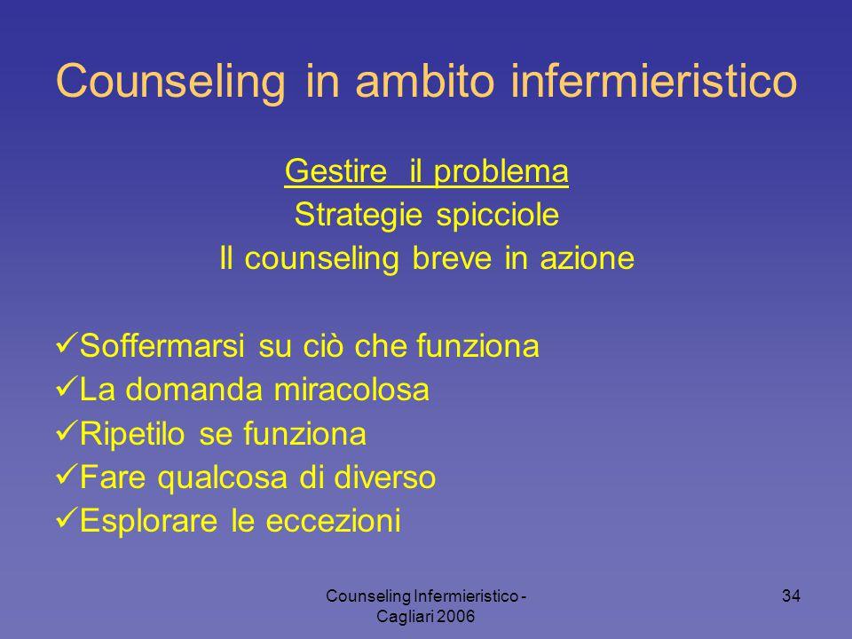 Counseling Infermieristico - Cagliari 2006 34 Counseling in ambito infermieristico Gestire il problema Strategie spicciole Il counseling breve in azio