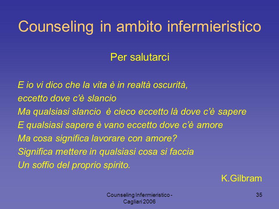 Counseling Infermieristico - Cagliari 2006 35 Counseling in ambito infermieristico Per salutarci E io vi dico che la vita è in realtà oscurità, eccett