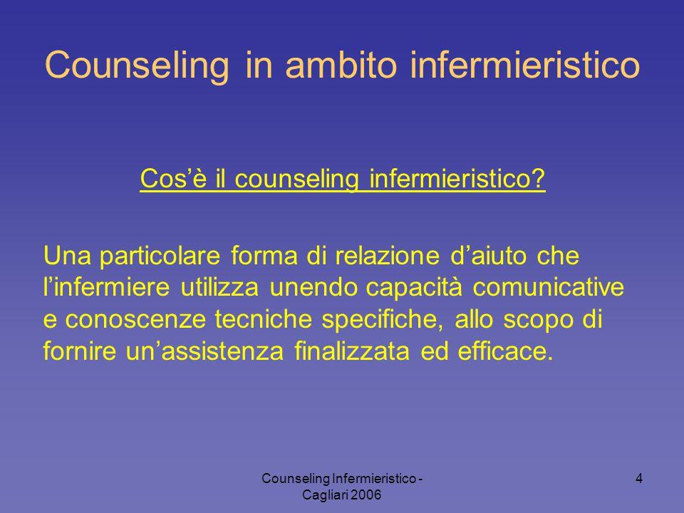 Counseling Infermieristico - Cagliari 2006 4 Counseling in ambito infermieristico Cos'è il counseling infermieristico? Una particolare forma di relazi