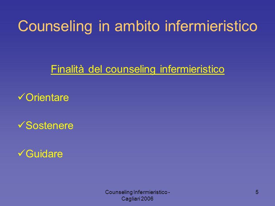 Counseling Infermieristico - Cagliari 2006 5 Counseling in ambito infermieristico Finalità del counseling infermieristico Orientare Sostenere Guidare