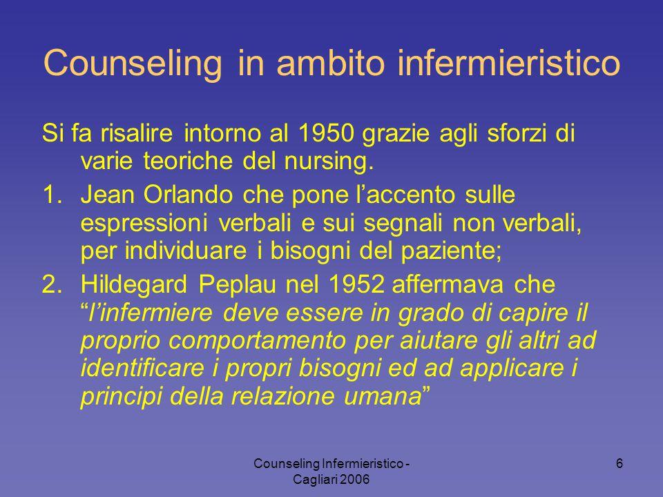 Counseling Infermieristico - Cagliari 2006 6 Si fa risalire intorno al 1950 grazie agli sforzi di varie teoriche del nursing. 1.Jean Orlando che pone