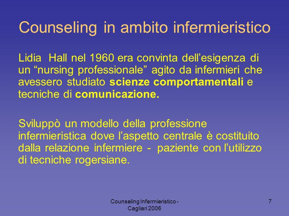 """Counseling Infermieristico - Cagliari 2006 7 Counseling in ambito infermieristico Lidia Hall nel 1960 era convinta dell'esigenza di un """"nursing profes"""