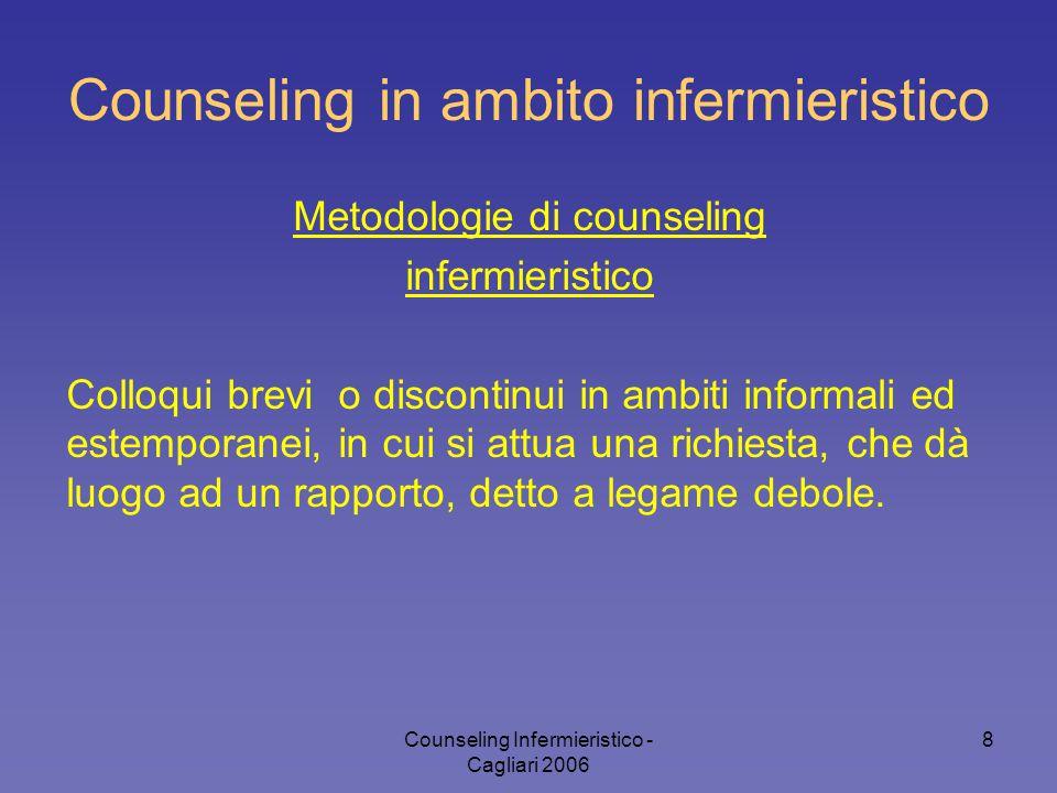 Counseling Infermieristico - Cagliari 2006 8 Counseling in ambito infermieristico Metodologie di counseling infermieristico Colloqui brevi o discontin