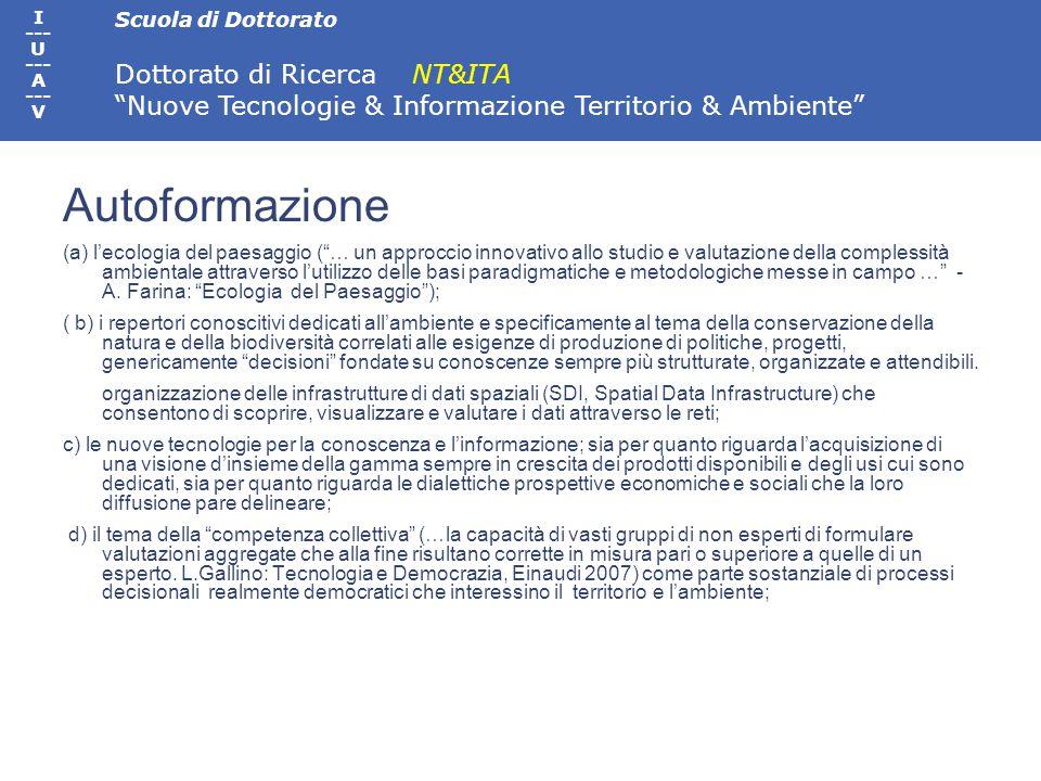 Scuola di Dottorato Dottorato di Ricerca NT&ITA Nuove Tecnologie & Informazione Territorio & Ambiente I --- U --- A --- V Didattica di dipartimento Prof.