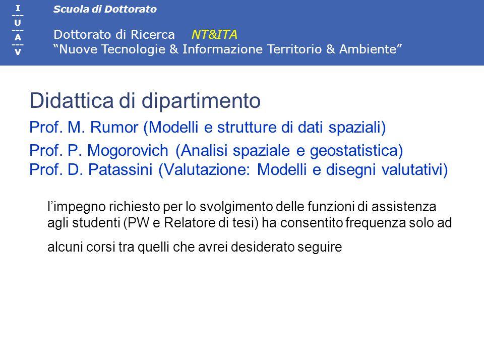 Scuola di Dottorato Dottorato di Ricerca NT&ITA Nuove Tecnologie & Informazione Territorio & Ambiente I --- U --- A --- V Teledidattico Cartografia per SIT, Prof.