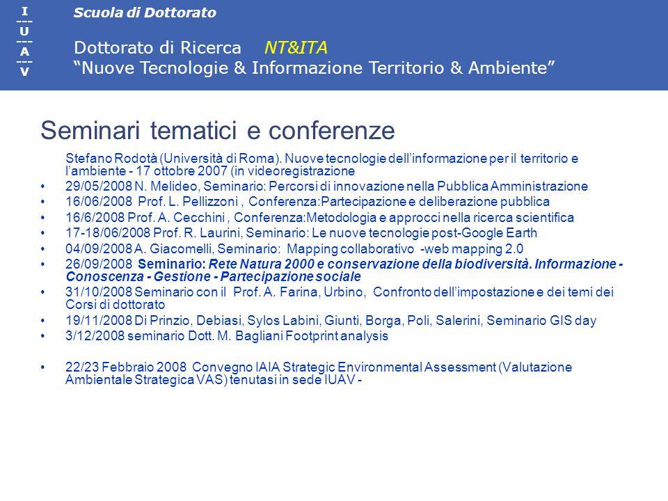 Scuola di Dottorato Dottorato di Ricerca NT&ITA Nuove Tecnologie & Informazione Territorio & Ambiente I --- U --- A --- V 26/09/2008 Seminario: Rete Natura 2000 e conservazione della biodiversità.