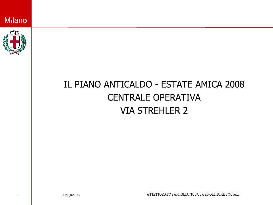 Milano ASSESSORATO FAMIGLIA, SCUOLA E POLITICHE SOCIALI 1 giugno '15 1 IL PIANO ANTICALDO - ESTATE AMICA 2008 CENTRALE OPERATIVA VIA STREHLER 2