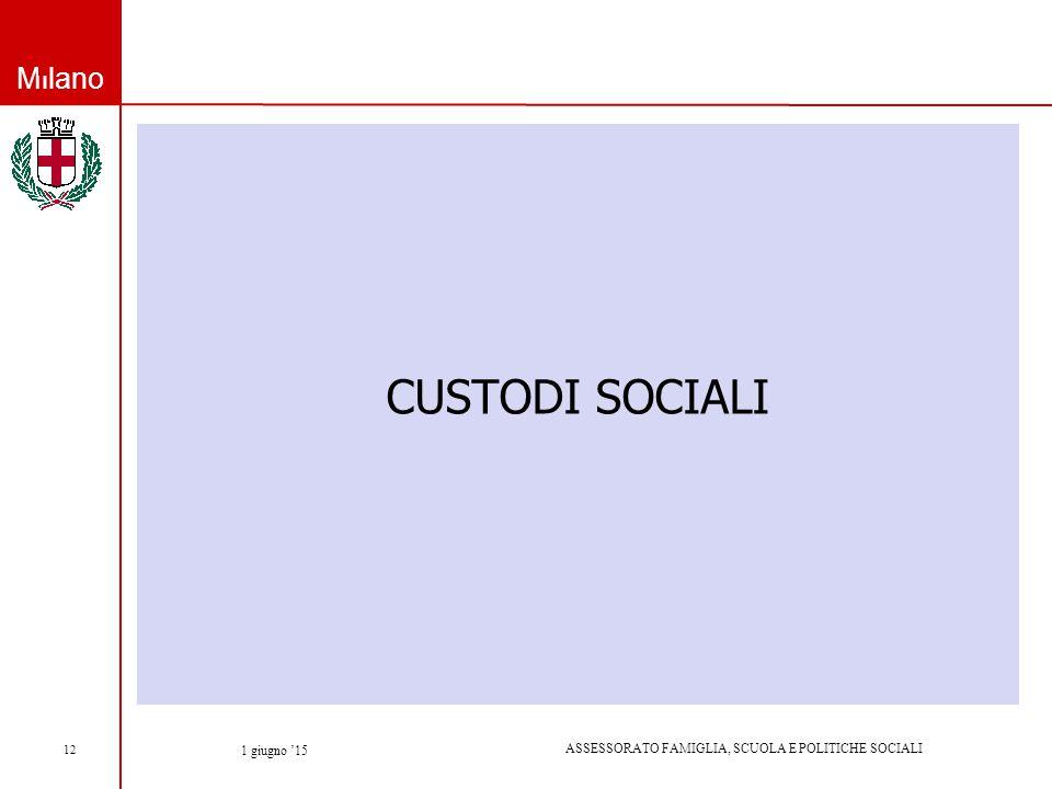 Milano ASSESSORATO FAMIGLIA, SCUOLA E POLITICHE SOCIALI 1 giugno '15 12 CUSTODI SOCIALI