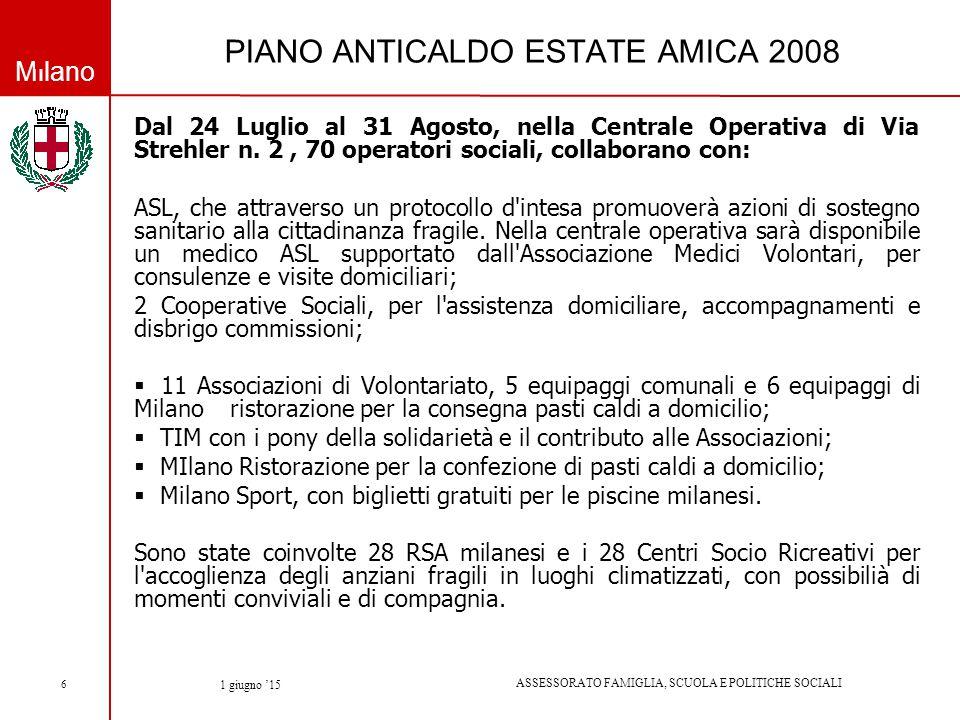 Milano ASSESSORATO FAMIGLIA, SCUOLA E POLITICHE SOCIALI 1 giugno '15 6 PIANO ANTICALDO ESTATE AMICA 2008 Dal 24 Luglio al 31 Agosto, nella Centrale Operativa di Via Strehler n.