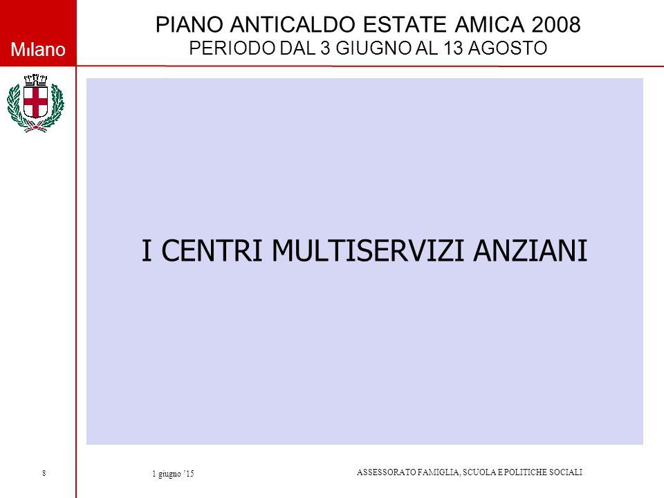Milano ASSESSORATO FAMIGLIA, SCUOLA E POLITICHE SOCIALI 1 giugno '15 8 PIANO ANTICALDO ESTATE AMICA 2008 PERIODO DAL 3 GIUGNO AL 13 AGOSTO I CENTRI MULTISERVIZI ANZIANI
