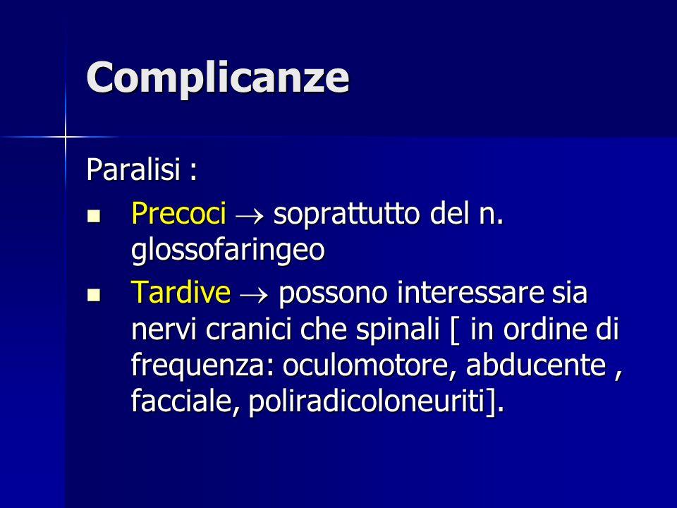 Complicanze Paralisi : Precoci  soprattutto del n. glossofaringeo Precoci  soprattutto del n. glossofaringeo Tardive  possono interessare sia nervi