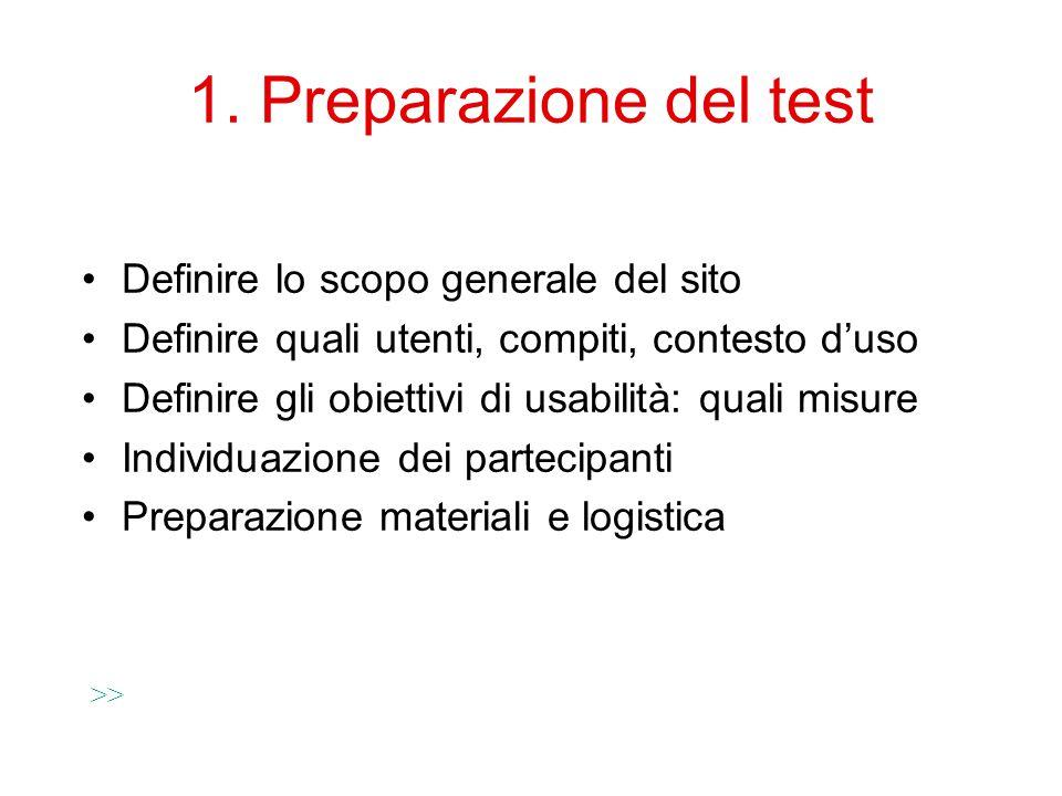 1. Preparazione del test Definire lo scopo generale del sito Definire quali utenti, compiti, contesto d'uso Definire gli obiettivi di usabilità: quali