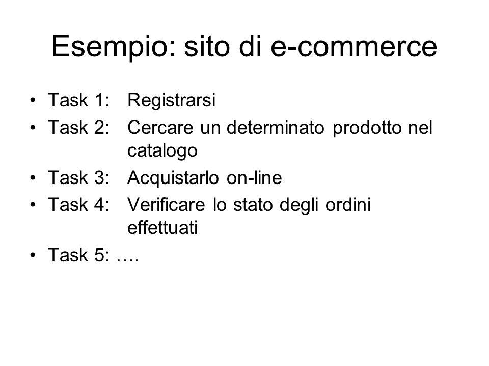 Esempio: sito di e-commerce Task 1: Registrarsi Task 2: Cercare un determinato prodotto nel catalogo Task 3: Acquistarlo on-line Task 4: Verificare lo stato degli ordini effettuati Task 5: ….