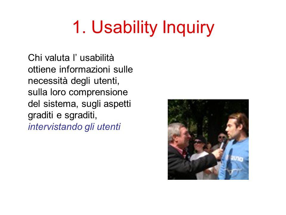 1. Usability Inquiry Chi valuta l' usabilità ottiene informazioni sulle necessità degli utenti, sulla loro comprensione del sistema, sugli aspetti gra