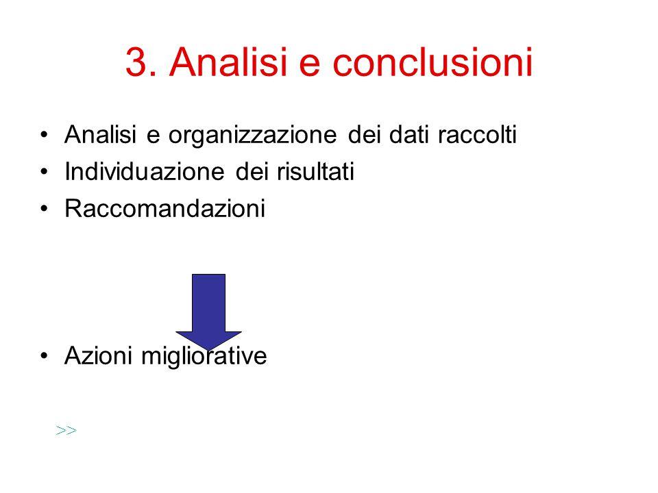 3. Analisi e conclusioni Analisi e organizzazione dei dati raccolti Individuazione dei risultati Raccomandazioni Azioni migliorative >>