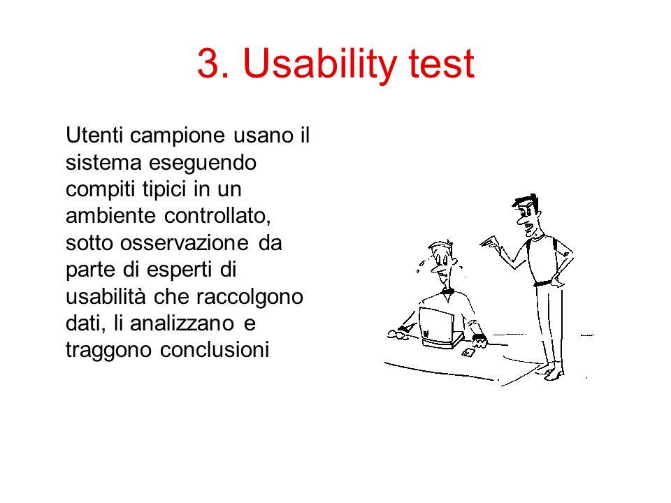 3. Usability test Utenti campione usano il sistema eseguendo compiti tipici in un ambiente controllato, sotto osservazione da parte di esperti di usab