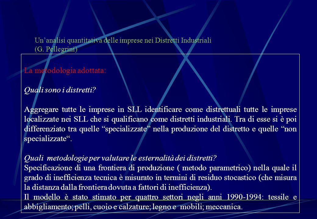 Un'analisi quantitativa delle imprese nei Distretti Industriali (G. Pellegrini) La metodologia adottata: Quali sono i distretti? Aggregare tutte le im