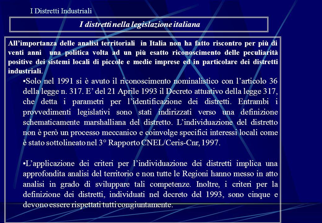 All'importanza delle analisi territoriali in Italia non ha fatto riscontro per più di venti anni una politica volta ad un più esatto riconoscimento de