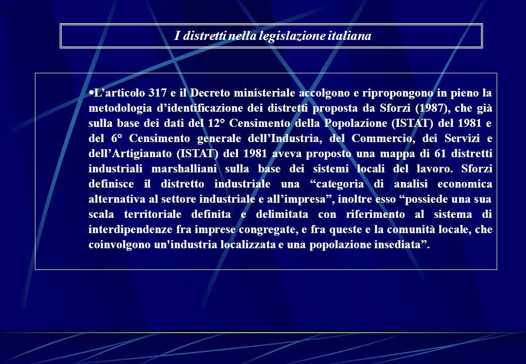  L'articolo 317 e il Decreto ministeriale accolgono e ripropongono in pieno la metodologia d'identificazione dei distretti proposta da Sforzi (1987),