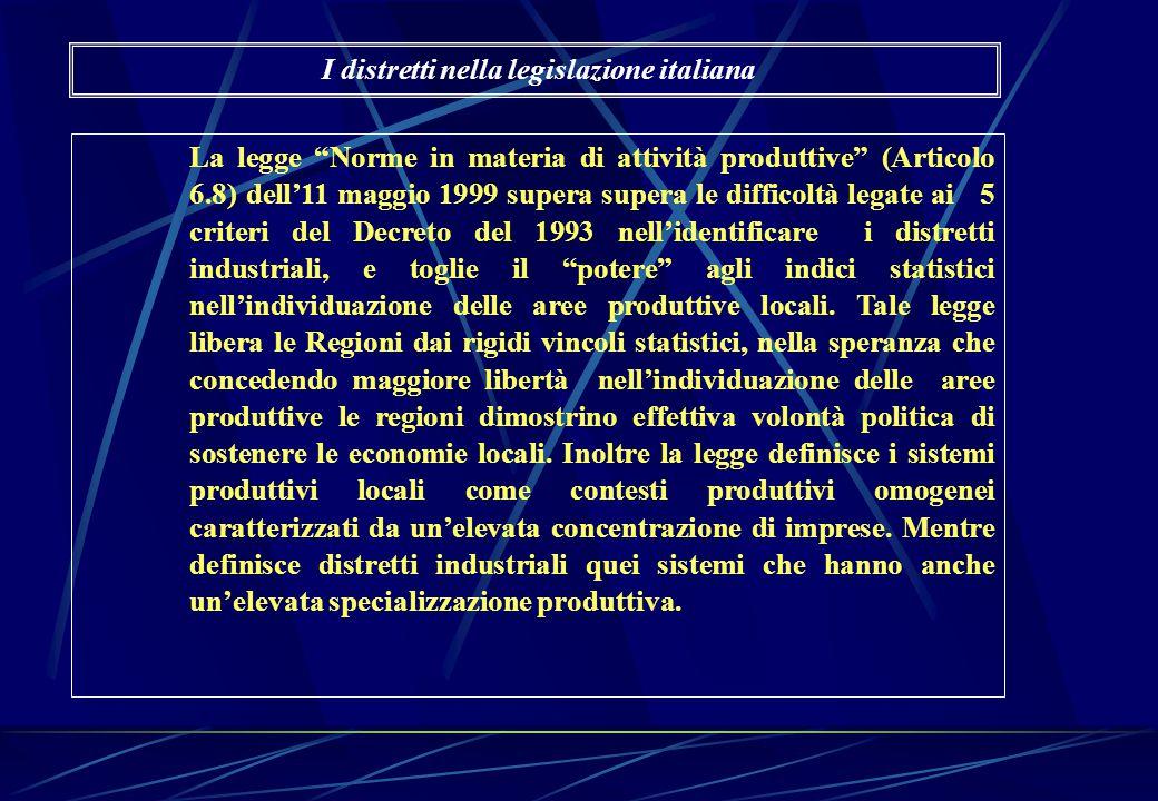 """La legge """"Norme in materia di attività produttive"""" (Articolo 6.8) dell'11 maggio 1999 supera supera le difficoltà legate ai 5 criteri del Decreto del"""