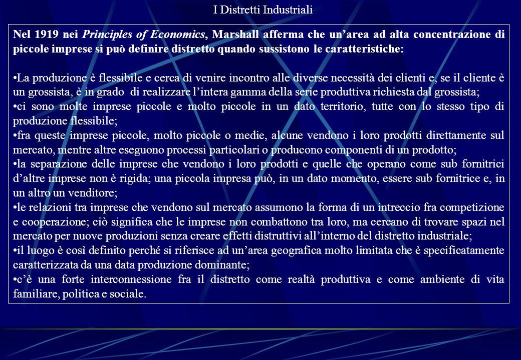 I Distretti Industriali Nel 1919 nei Principles of Economics, Marshall afferma che un'area ad alta concentrazione di piccole imprese si può definire d