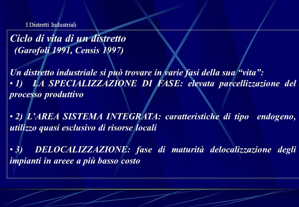 """I Distretti Industriali Ciclo di vita di un distretto (Garofoli 1991, Censis 1997) Un distretto industriale si può trovare in varie fasi della sua """"vi"""
