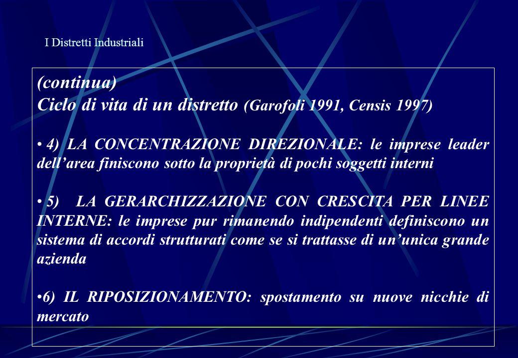 I Distretti Industriali (continua) Ciclo di vita di un distretto (Garofoli 1991, Censis 1997) 4) LA CONCENTRAZIONE DIREZIONALE: le imprese leader dell
