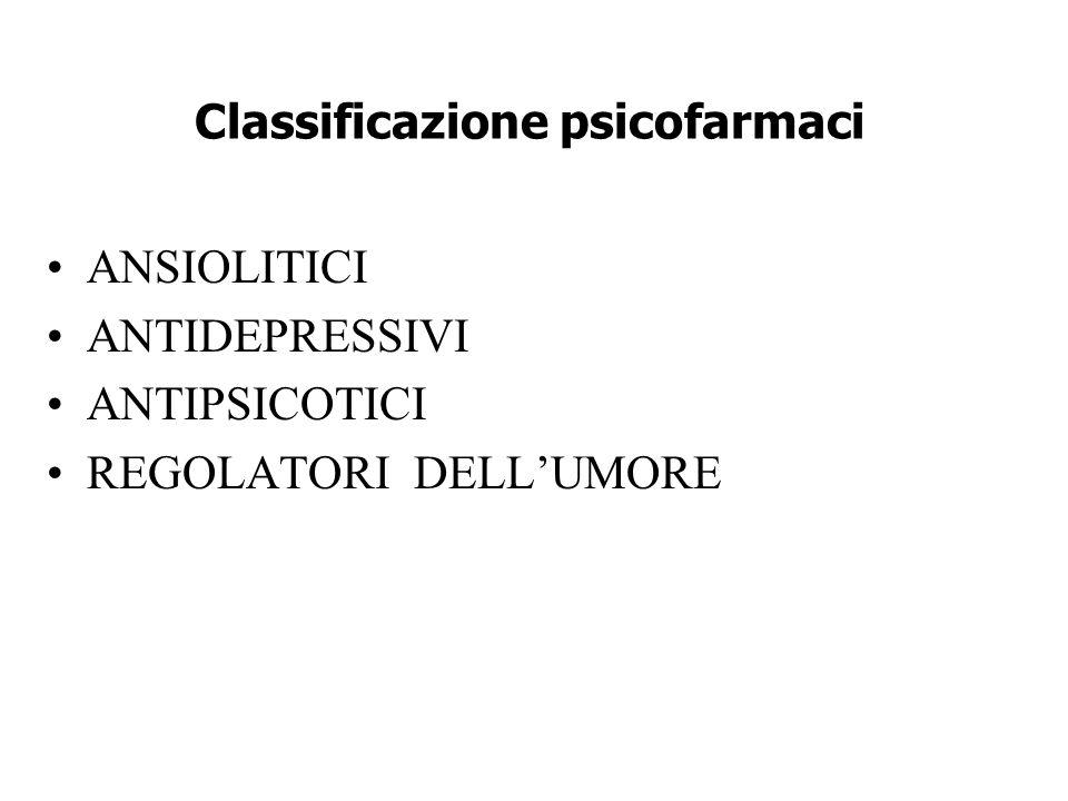 Classificazione psicofarmaci ANSIOLITICI ANTIDEPRESSIVI ANTIPSICOTICI REGOLATORI DELL'UMORE