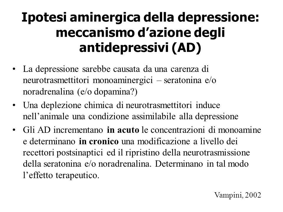 Ipotesi aminergica della depressione: meccanismo d'azione degli antidepressivi (AD) La depressione sarebbe causata da una carenza di neurotrasmettitor
